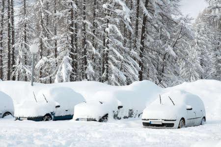 arbol de problemas: Aparcamiento de autom�viles cubiertos por un mont�n de nieve Foto de archivo