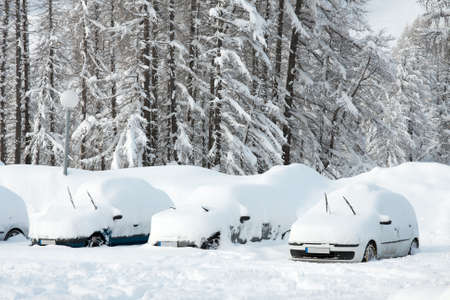 Parking cars covered by a lot of snow photo