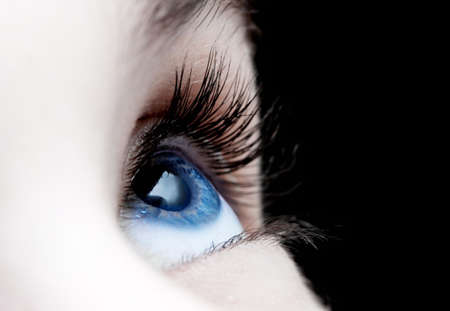 eyes open: Blue eye closeup of a girl