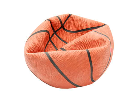 and worn out: Broken basketball isolated on white background Stock Photo
