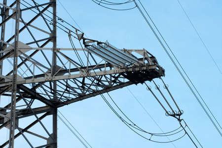 insulators: High voltage power line with huge insulators