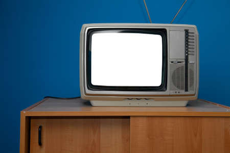 Vintage TV set with blank white screen photo