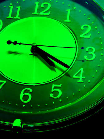 detail of an analogue clock in green tone photo