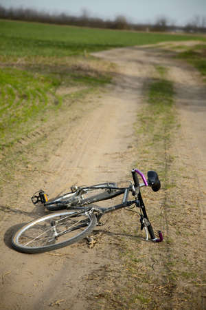 dirtroad: Bicycle left on a dirtroad