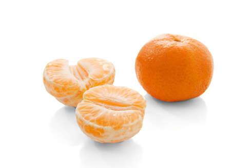 Fresh tangerines isolated on white background photo