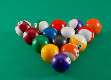 Charming Pool Table Balls Set Up For Starting Stock Photo   7723356