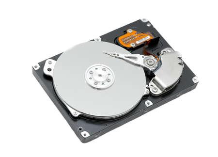Disco duro abierto aislado sobre fondo blanco  Foto de archivo