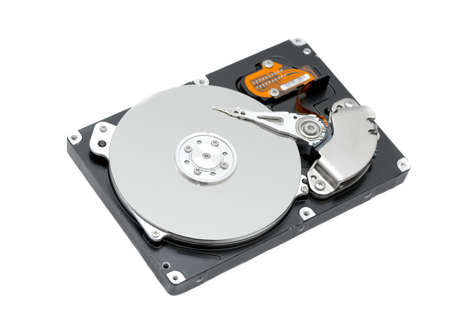 Open harddisk isolated on white background photo