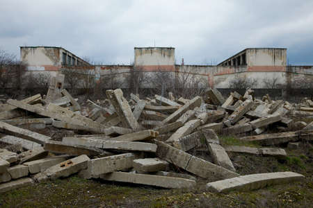 Ruins of an old warehouse building photo