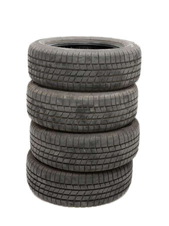 Car winter tyres in a pile photo