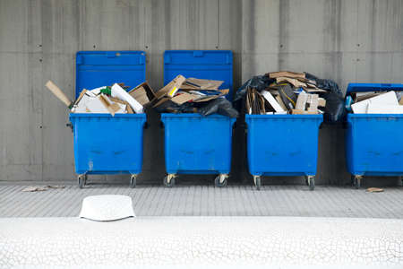 Dustbins full of discarded cardboard boxes Stock Photo - 7838497
