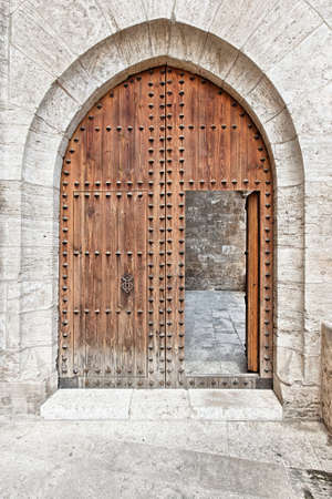 the old times: Wooden gate of a medieval castle Stock Photo