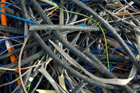 electronical: A messy pile of used cables Stock Photo