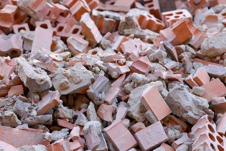 A pile of broken bricks photo