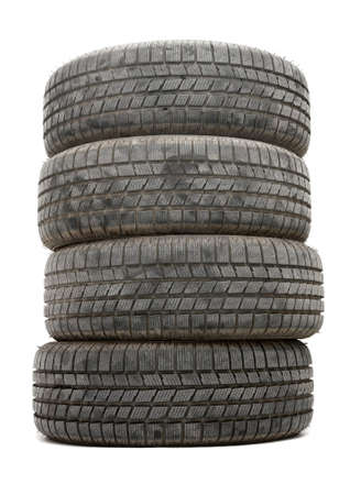 A pile of winte tyres on white background photo