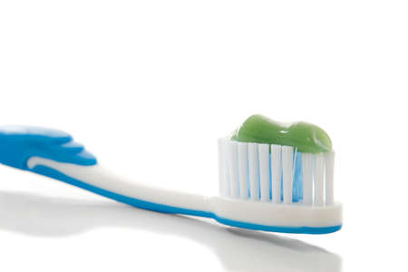 Toothbrush with toothpaste with white background Stock Photo - 8203480