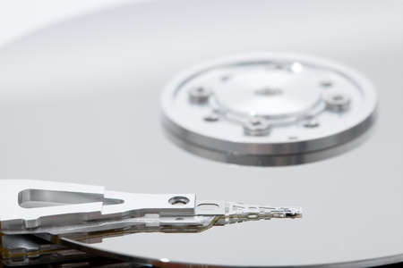 Open hard disk drive detail photo
