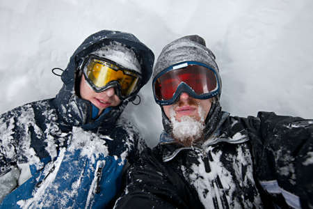 Skiers after severe snow storm Stock Photo - 8385607