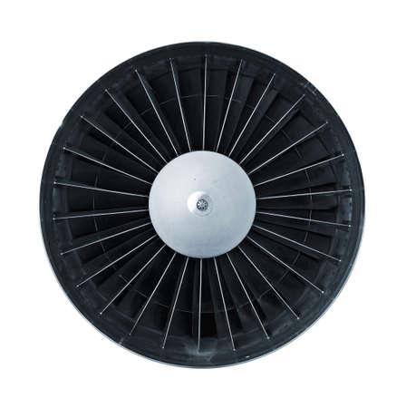 turbofan: Vista frontal de motor jet aislado en blanco