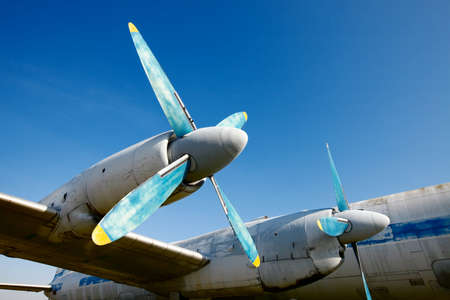 Wing and engines of an old airplane Stock Photo - 8990237