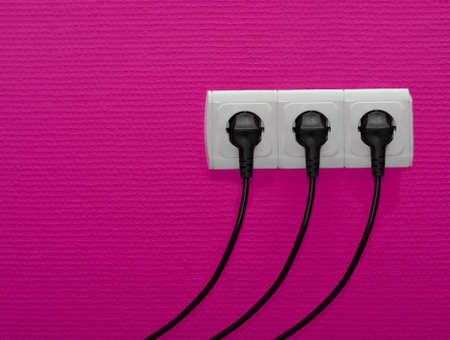Electric outlets with cables connected Stock Photo - 9093299