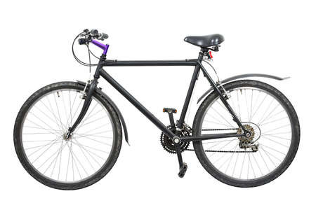 Black bicycle isolated on white background Stock Photo