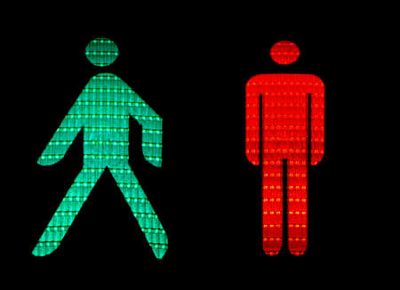 Green and red pedestrian traffic lights
