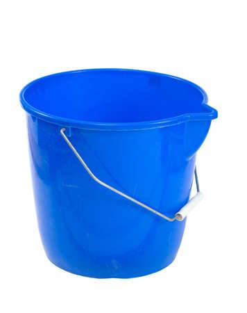 Blue plastic bucket isolated on white background