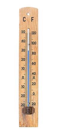 Thermometer showing quite high temperature in summer weather photo