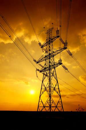 Yüksek gerilim elektrik hattı Stock Photo