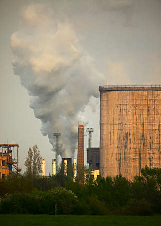 industrialized: Old, smoking industrial plants Editorial
