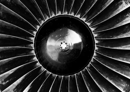 Old jet engine turbine closeup photo