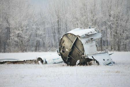 Plane wreck in snowy landscape