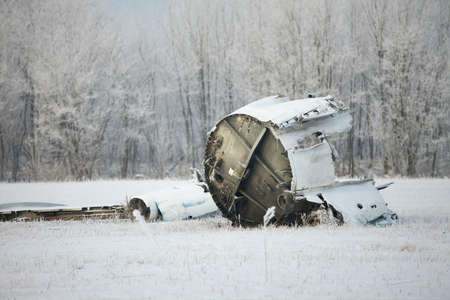 old plane: Plane wreck in snowy landscape