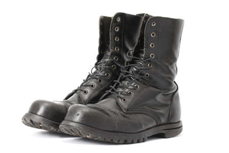 combat boots: A pair of steelcap leather boots
