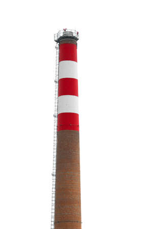 tall chimney: Tall industrial chimney isolated on white background Stock Photo