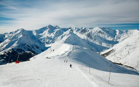 Ski slope in the high mountains photo