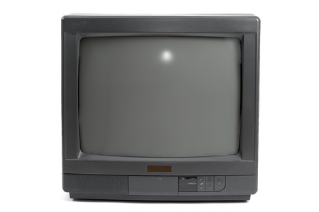 90s: Small TV set isolated in white background