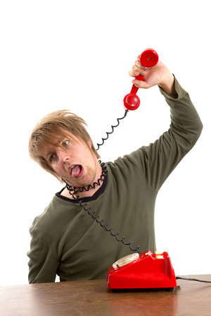 hang up: Man hanging himself with a phone cord