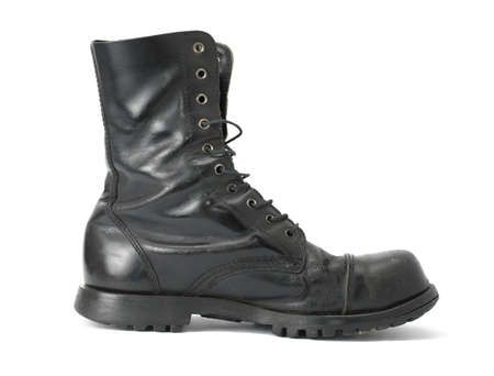combat boots: Steelcap leather boots isolated on white Stock Photo