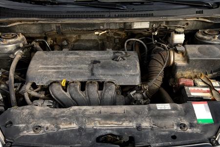 Old, dirty car engine