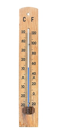 conventional: Thermometer showing 12 degrees Celsius Stock Photo