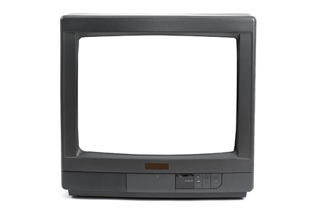 Old TV set with blank white screen photo
