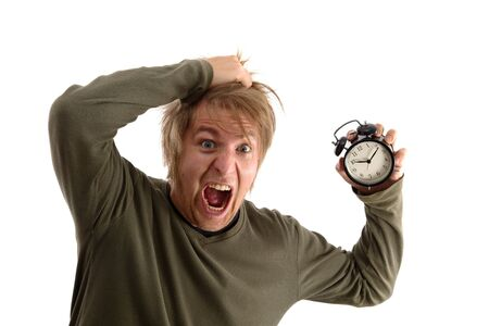 hysterical: Outraged man with alam clock in hand