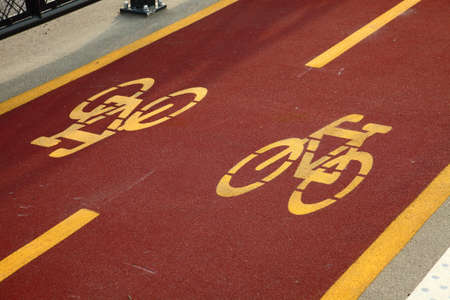 Bicycle lane sign closeup photo