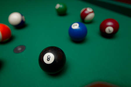 8 ball billiards: Billiard ball closeup in game situation Stock Photo