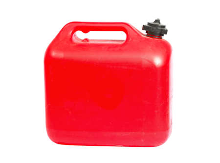 petrol can: Red plastic can on white background