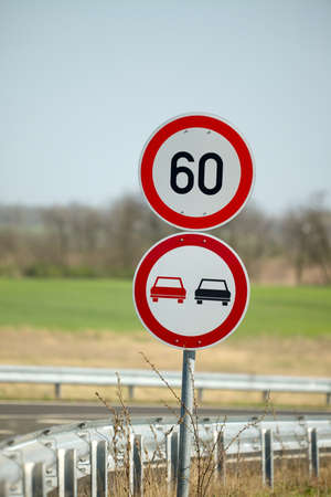 Traffic signs on the side of a road Stock Photo - 12652399