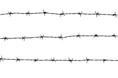 najechać: Drut kolczasty na biaÅ'ym tle Zdjęcie Seryjne