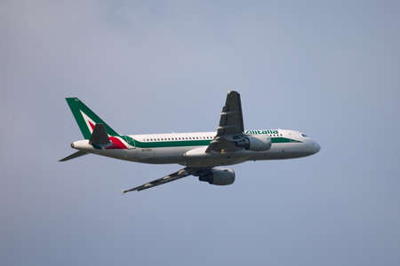 BUDAPEST, HUNGARY - JULY 3: Airliner of Alitalia is departing from Budapest (LHBP), July 3th 2011. Alitalia is the national airline of Italy flying a fleet of 155 aircrafts (as of December 2011) Stock Photo - 13182401